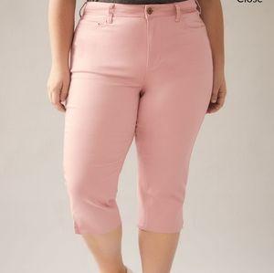 Penningtons Pink Cropped Pants Capri Plus size NWT